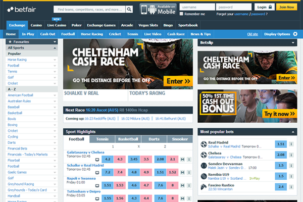 Betfair screen shot